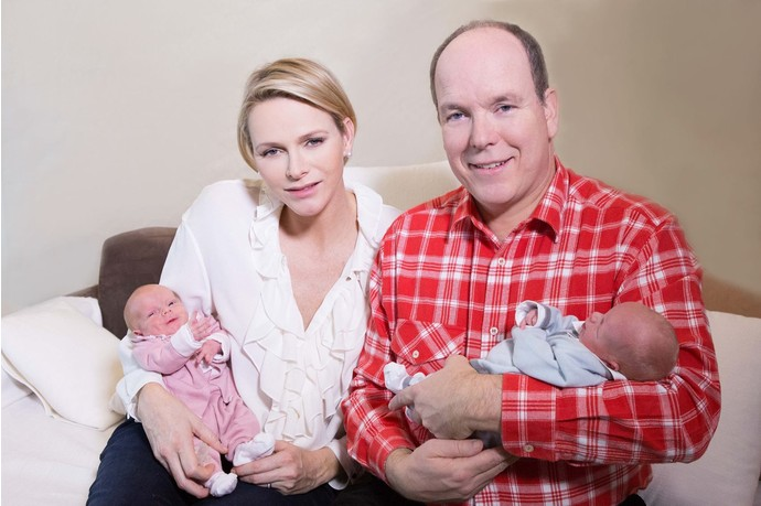 Prince Albert II and Princess Charlene babies