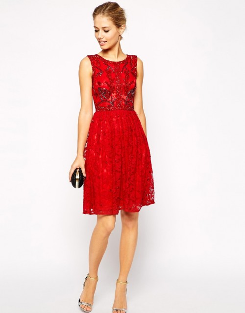 red lace dress designer