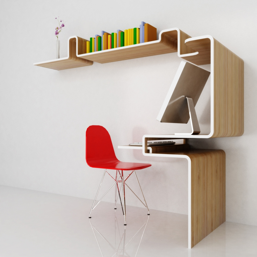 Modern desk and shelves