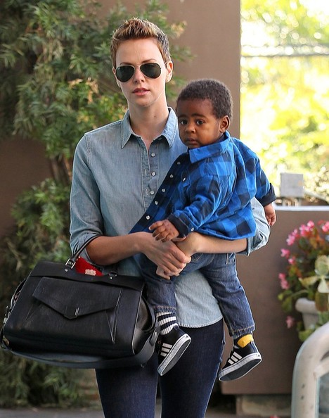 Charlize Theron picture with son