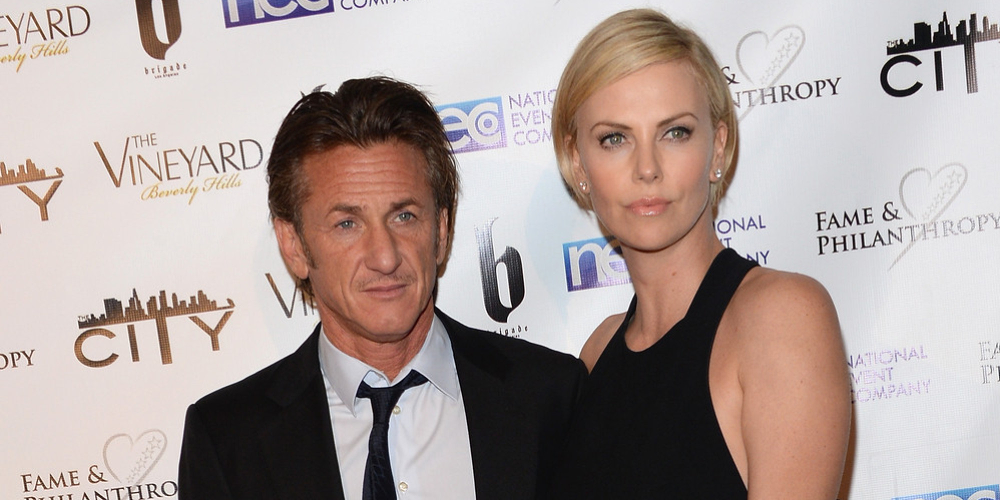 Sean Penn with Charlize Theron at post Oscar party