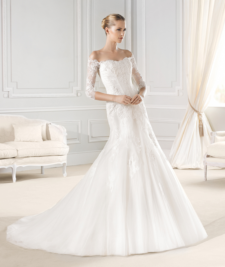 La Sposa- three quarter sleeves lace wedding dress