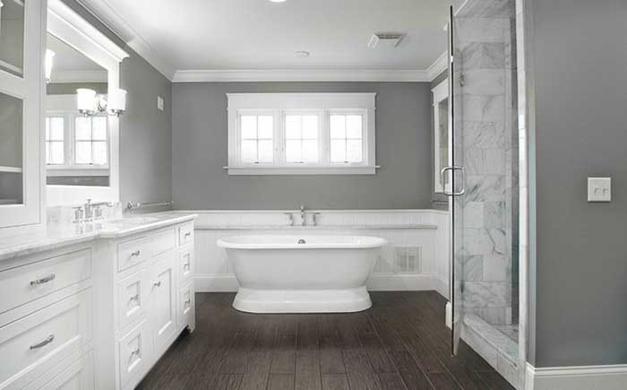 Romantic gray and white bathroom