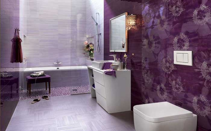 Stylish lavender and white bathroom design