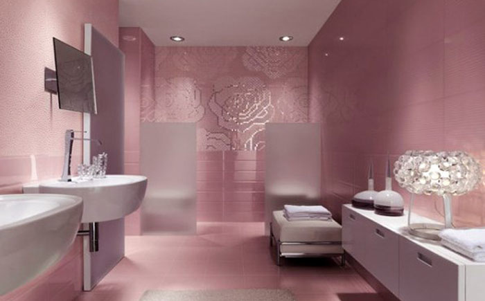 Pink and white fashionable bathroom