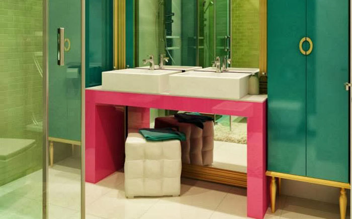 Turquoise, pink and gold bathroom color scheme