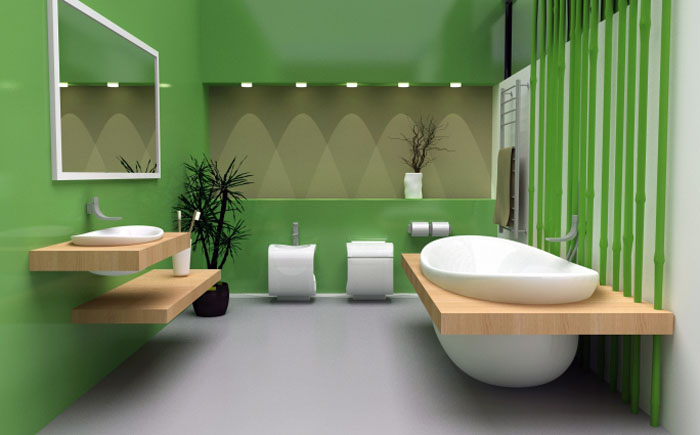 Brown, green and white bathroom design