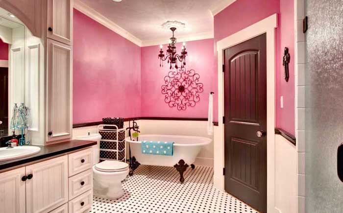 Pink, white and black girly bathroom colors