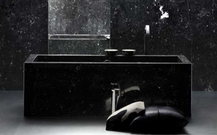 Intimate black bathroom design