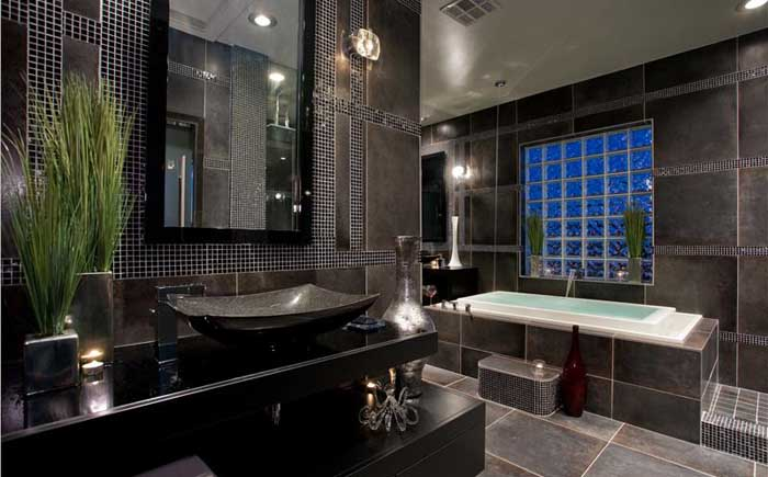 Black and gray traditional bathroom