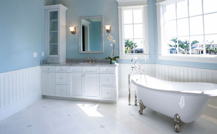 Popular Pale blue and white bathroom interior
