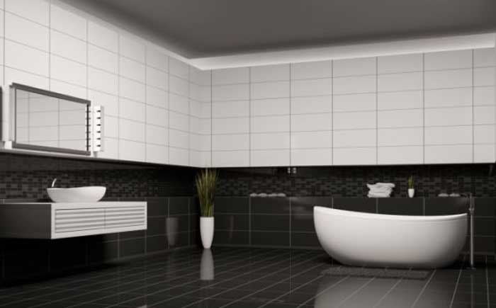The classic black and white bathroom interior