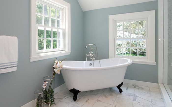 Blue-gray and white bathroom design