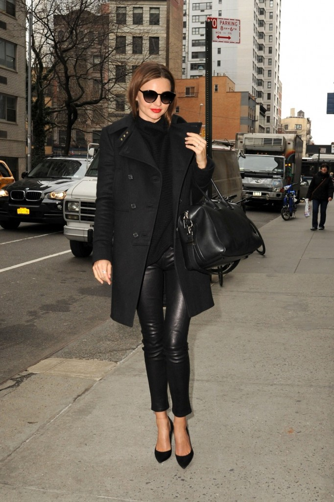 Miranda Kerr sports all black while out and about in New York City