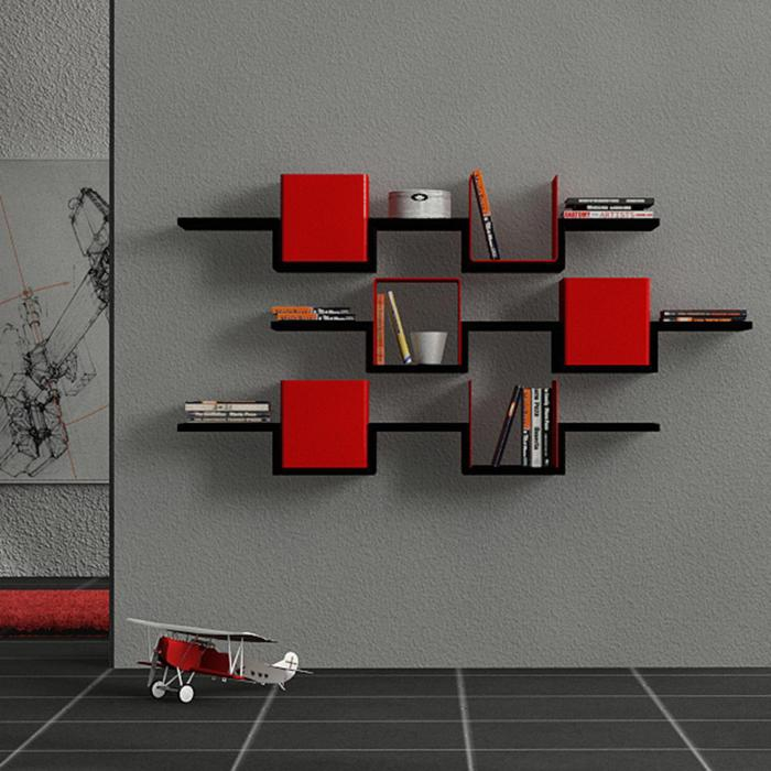 Red-black shelves for books and decoration items