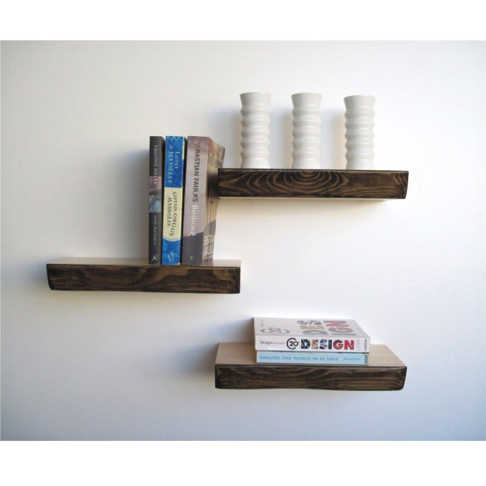 Three shelves in a minimalist style