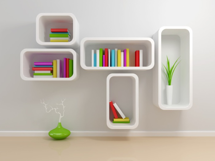 Rectangular shelves with rounded corners