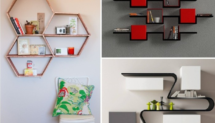 Modern wooden shelves