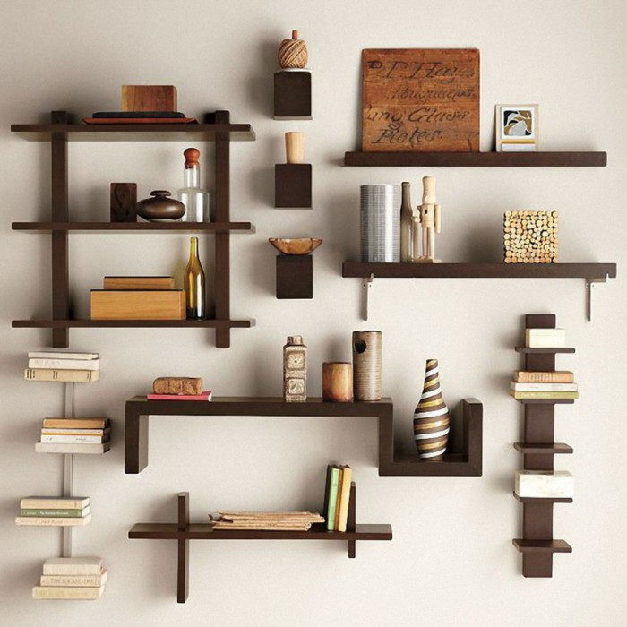 Wooden shelves in different shapes