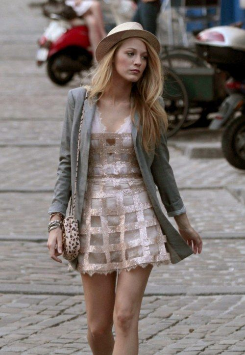 Blake Lively in Georges Chakra sparkly dress