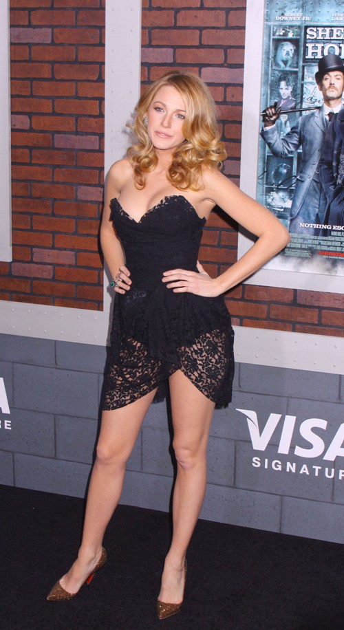 Blake Lively short black lace dress