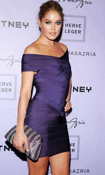 Doutzen Kroes purple bandage dress