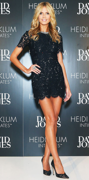 Heidi Klum in black mini lace dress