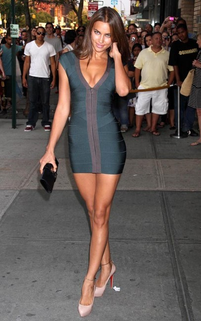 Irina Shayk Short Green Herve Leger Dress