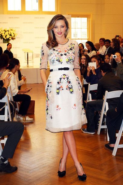 Miranda Kerr white flower dress