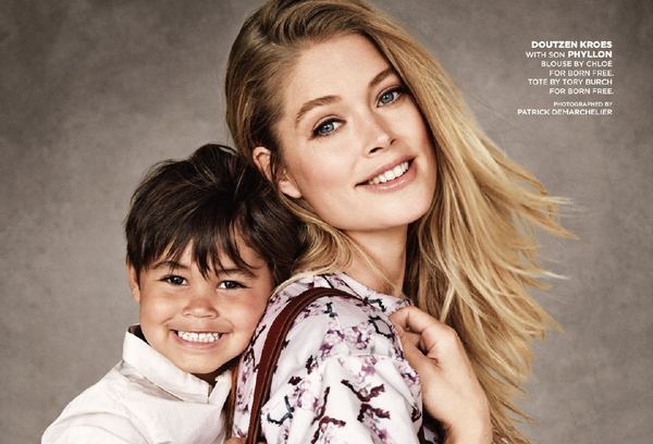 Phyllon Joy and mother Doutzen Kroes photoshooting
