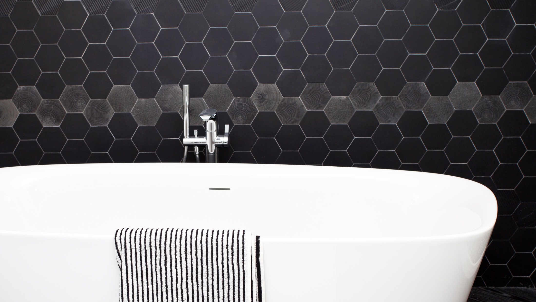 Hexagonal tiles on walls