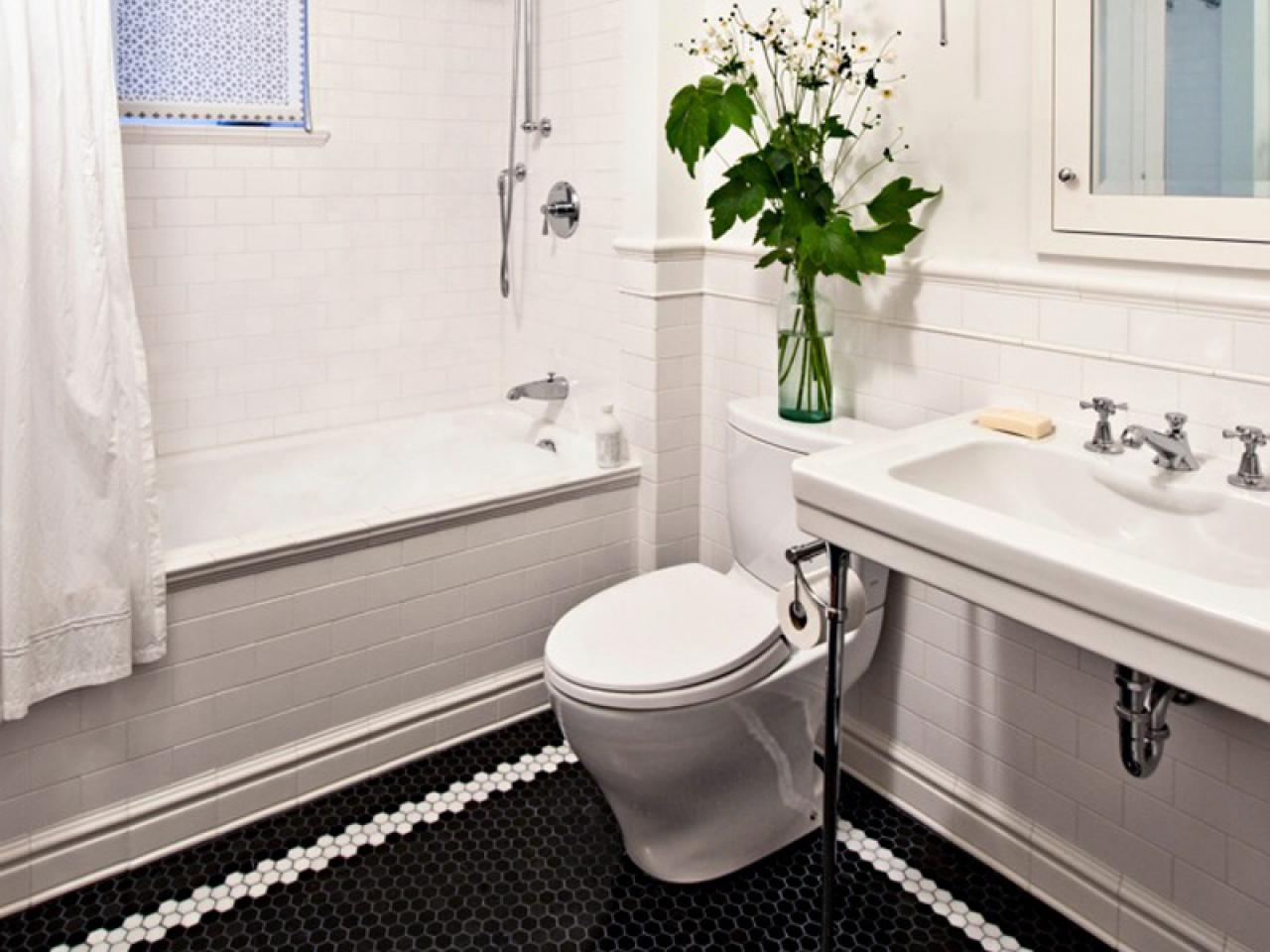 beautiful bathroom black hexagonal tiles