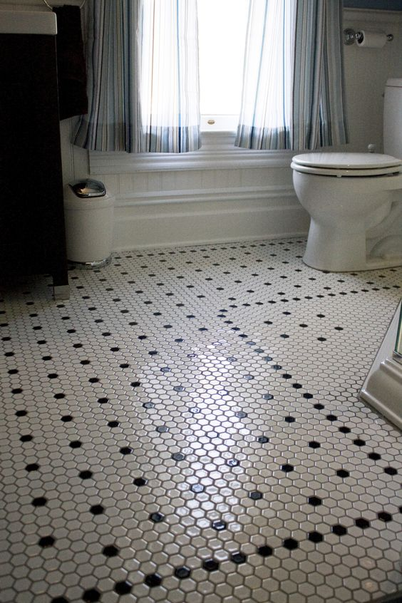 vintage bathroom hexagonal tiles
