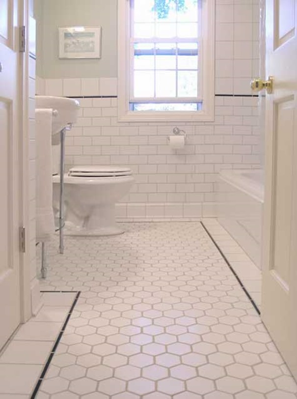 white hexagonal bathroom tiles