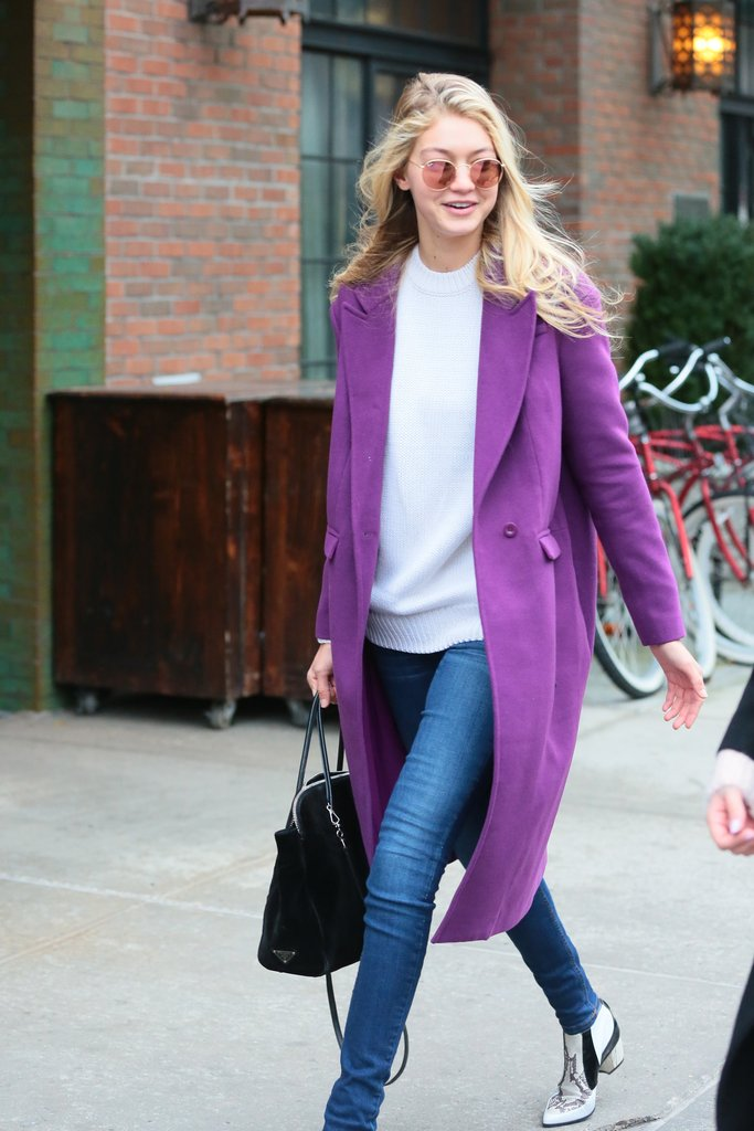 Gigi Hadid wearing ultra violet coat