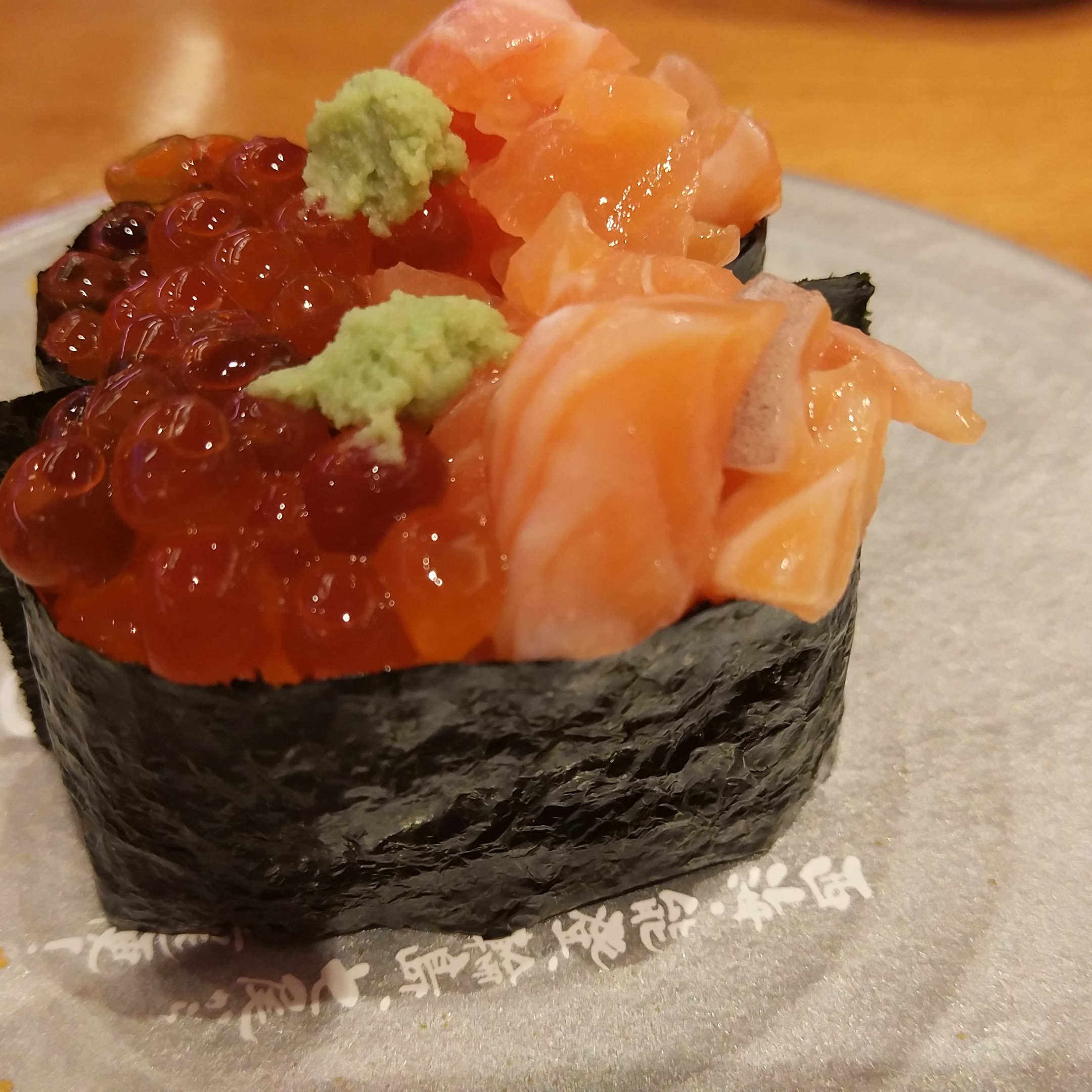 sushi rolls and salmon roe