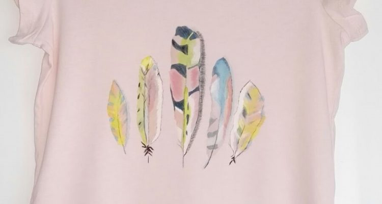 feather handpainted t-shirt